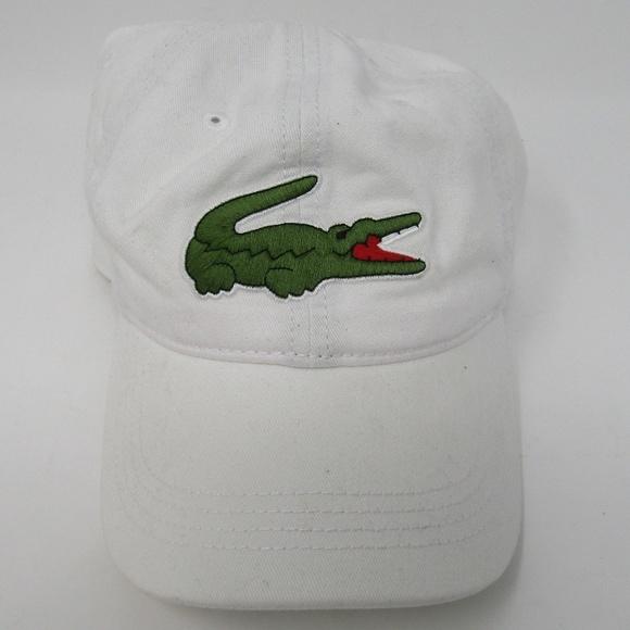 467c297a248000 Lacoste Accessories   Hat White Big Logo Strap Green Alligator ...